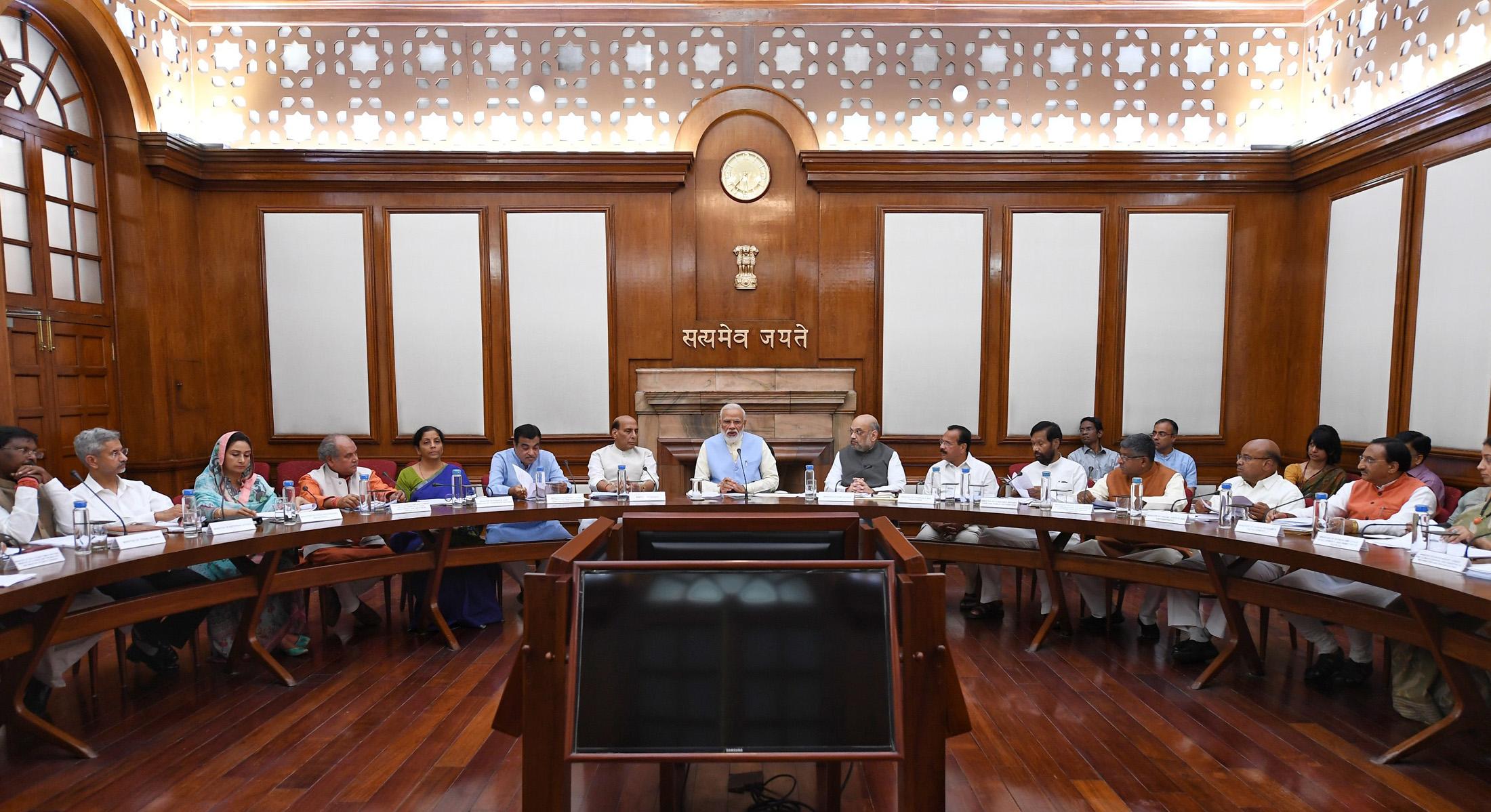 The Prime Minister, Shri Narendra Modi at the first cabinet meeting, at the Prime Minister's Office, in South Block, New Delhi on May 31, 2019.