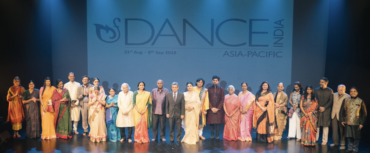Photo from the Inauguration of Dance India Asia Pacific 2018 at the Esplanade - Theatres on the Bay, featuring HE Jawed Ashraf, HCI Singapore, the Faculty team, partners and DIAP team. Photo courtesy: DIAP