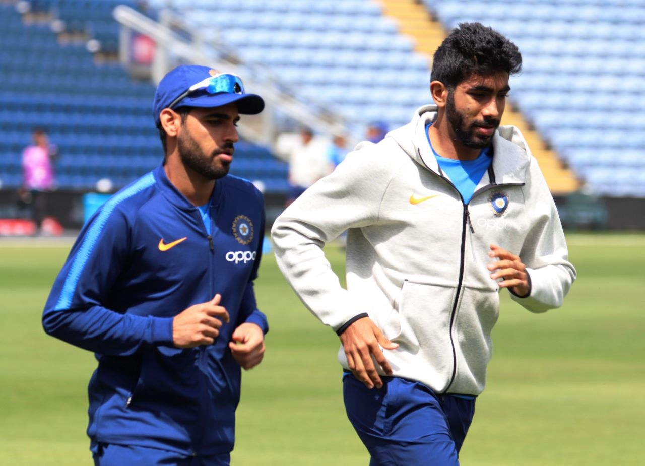 Jasprit Bumrah (right) will spearhead India's pace attack. Photo courtesy: Facebook/Indian Cricket Team