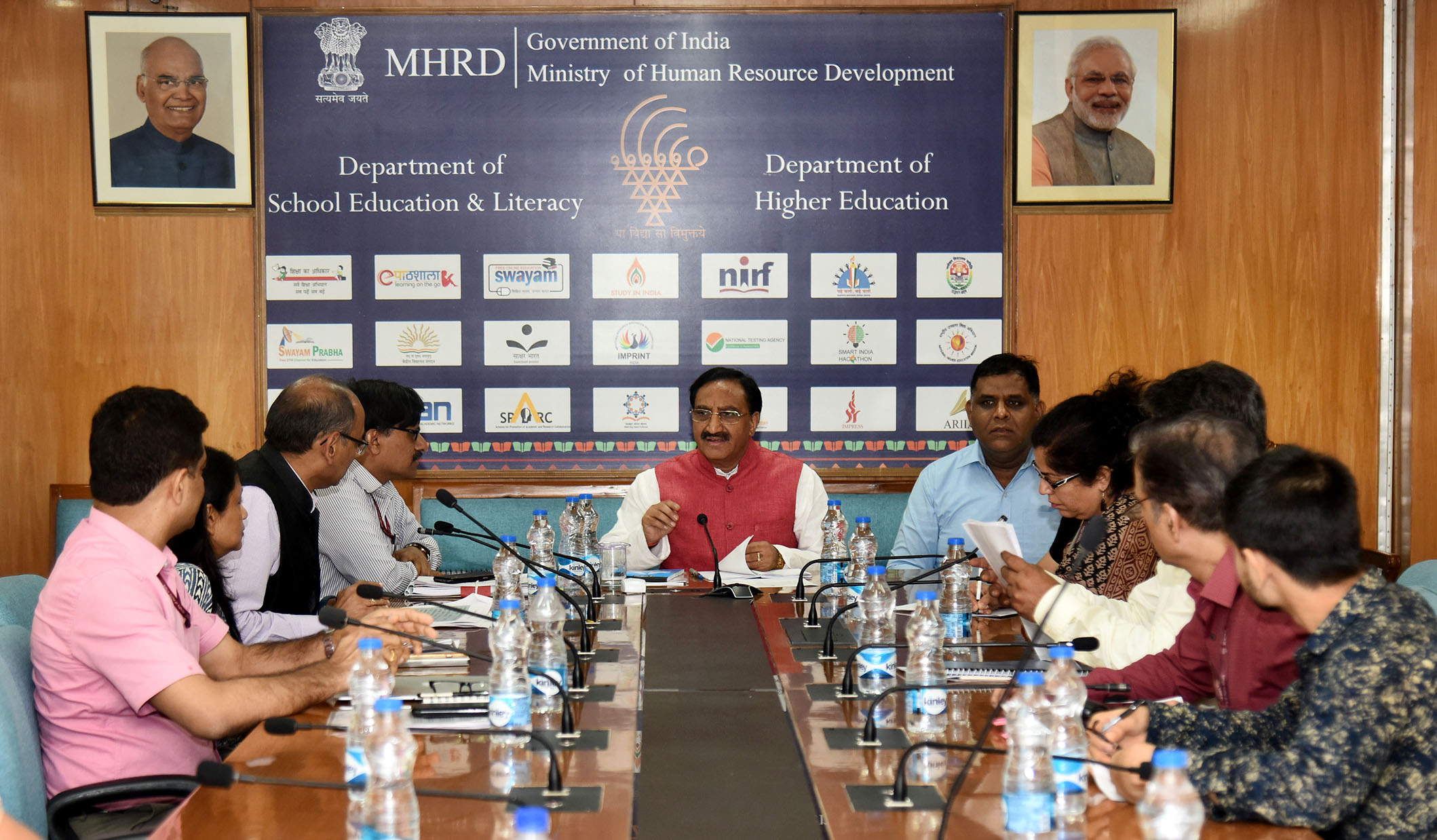 The Union Minister for Human Resource Development, Dr. Ramesh Pokhriyal 'Nishank' at a review meeting, in New Delhi