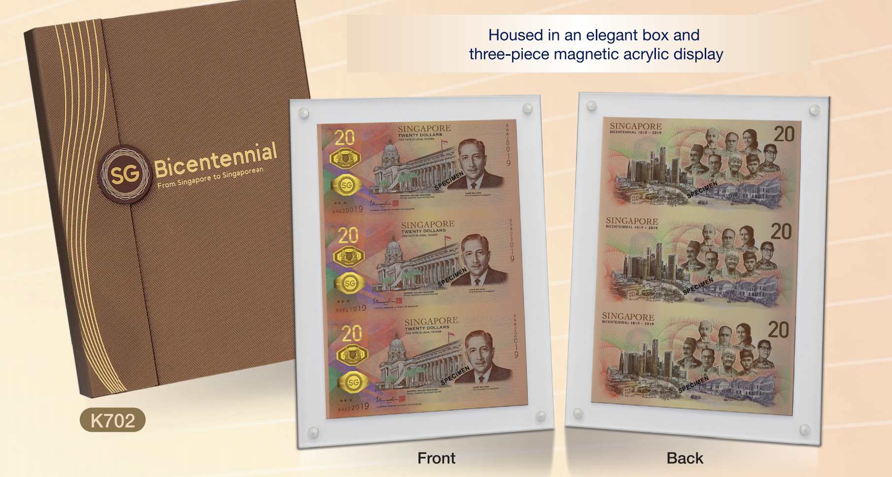 New SGD20 notes in commemoration of Singapore Bicentennial. Photo courtesy: MAS