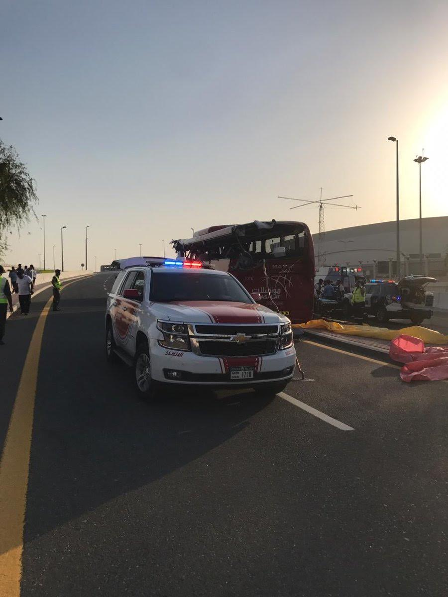 A traffic bus with 31 passengers on board of the Sultanate of Oman on Sheikh Mohammed bin Zayed Road, specifically (Al Rashidiya outlet) to the metro station, resulting in the death of 15 passengers of different nationalities and serious injuries to 5 other people. Photo courtesy: Dubai Police, Twitter