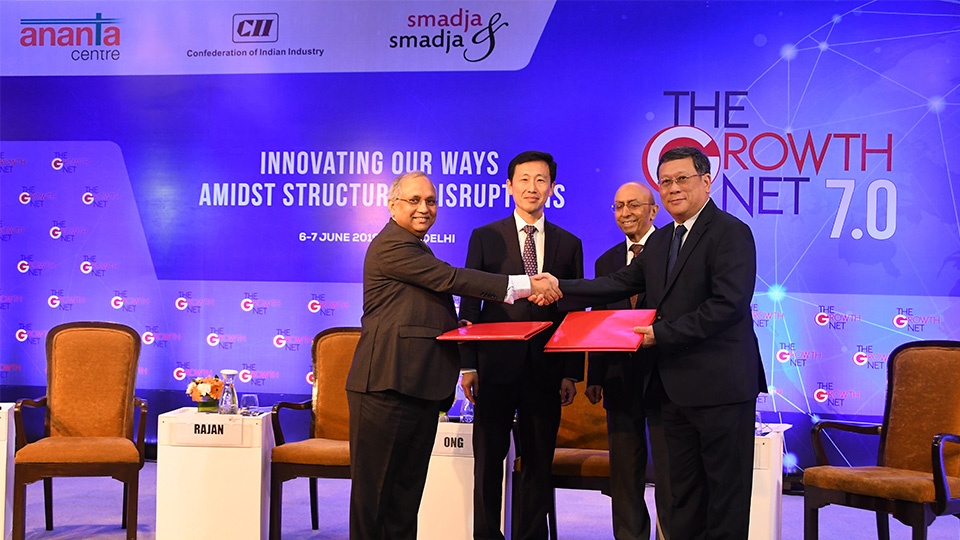 The MoUs were exchanged in the presence of Minister Ong (second from left) and Mr Tarun Das, Chairman, Institute of Economic Growth, India (third from left). Photo courtesy: Confederation of Indian Industry
