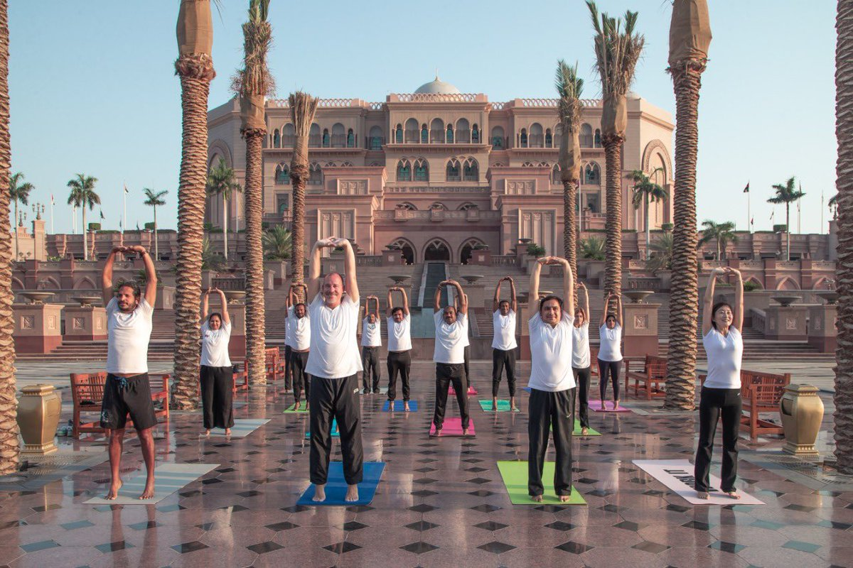 Enthusiasts practicing Yoga  at the iconic Emirates Palace in Abu Dhabi in the run-up to the main Yoga programme which will be organised at Umm Al Emarat Park on June 20. Photo courtesy: Twitter/@IndembAbuDhabi