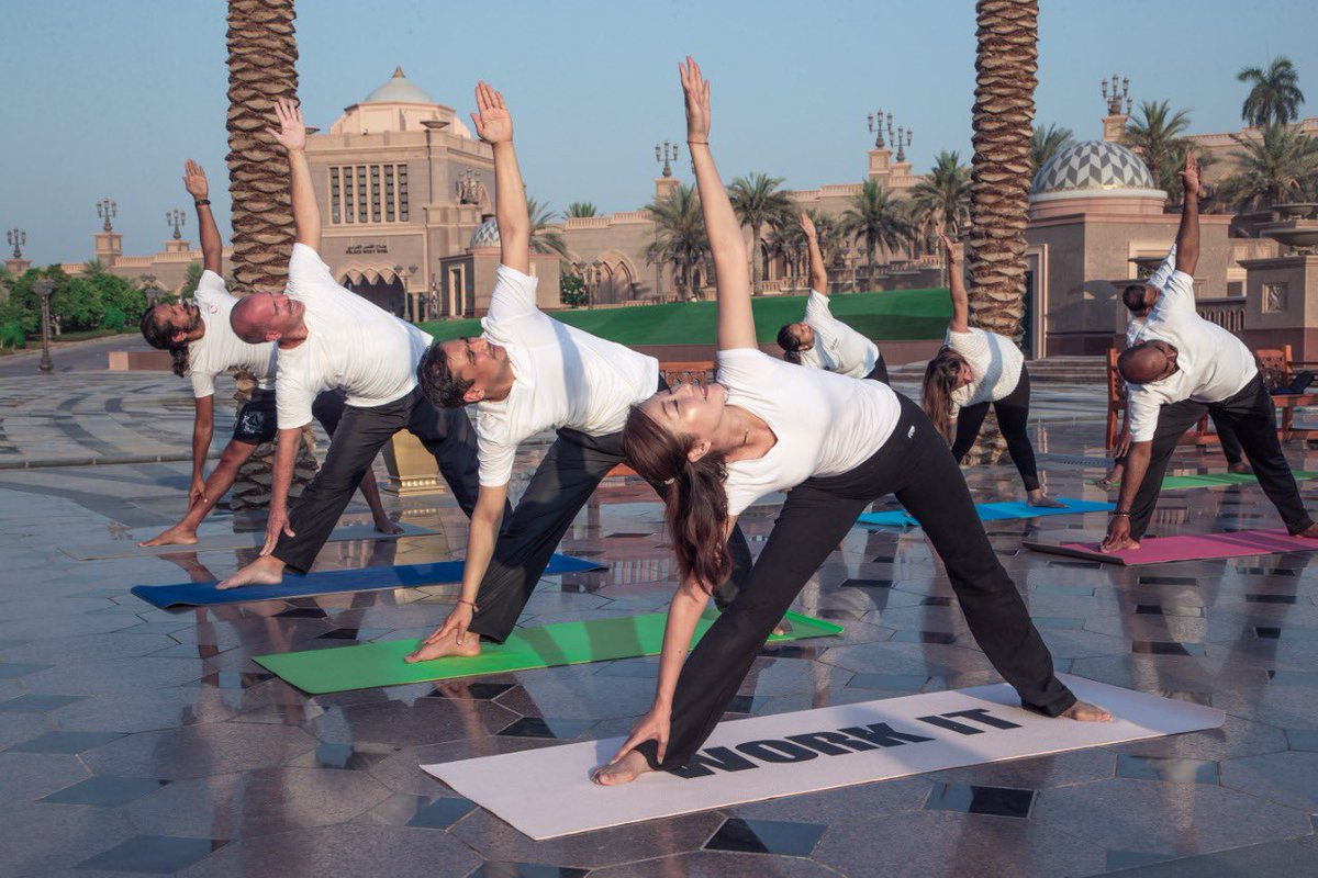 Yoga mats and yoga T-shirts will be provided to all participants for the main programme on a first-come, first-served basis. Photo courtesy: Twitter/@IndembAbuDhabi