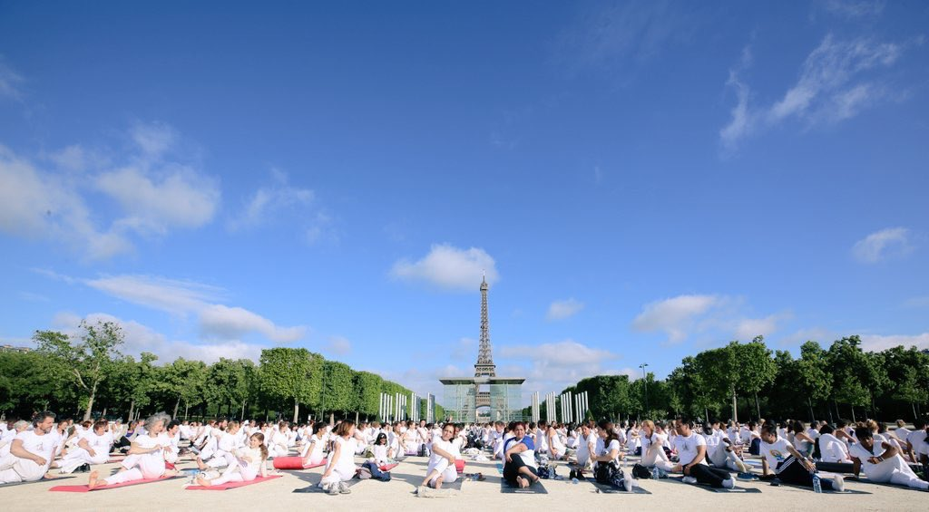 Yoga Day celebrations near the Eiffel Tower in Paris to commemorate Indian culture and tradition. Photo courtesy: Twitter/@narendramodi
