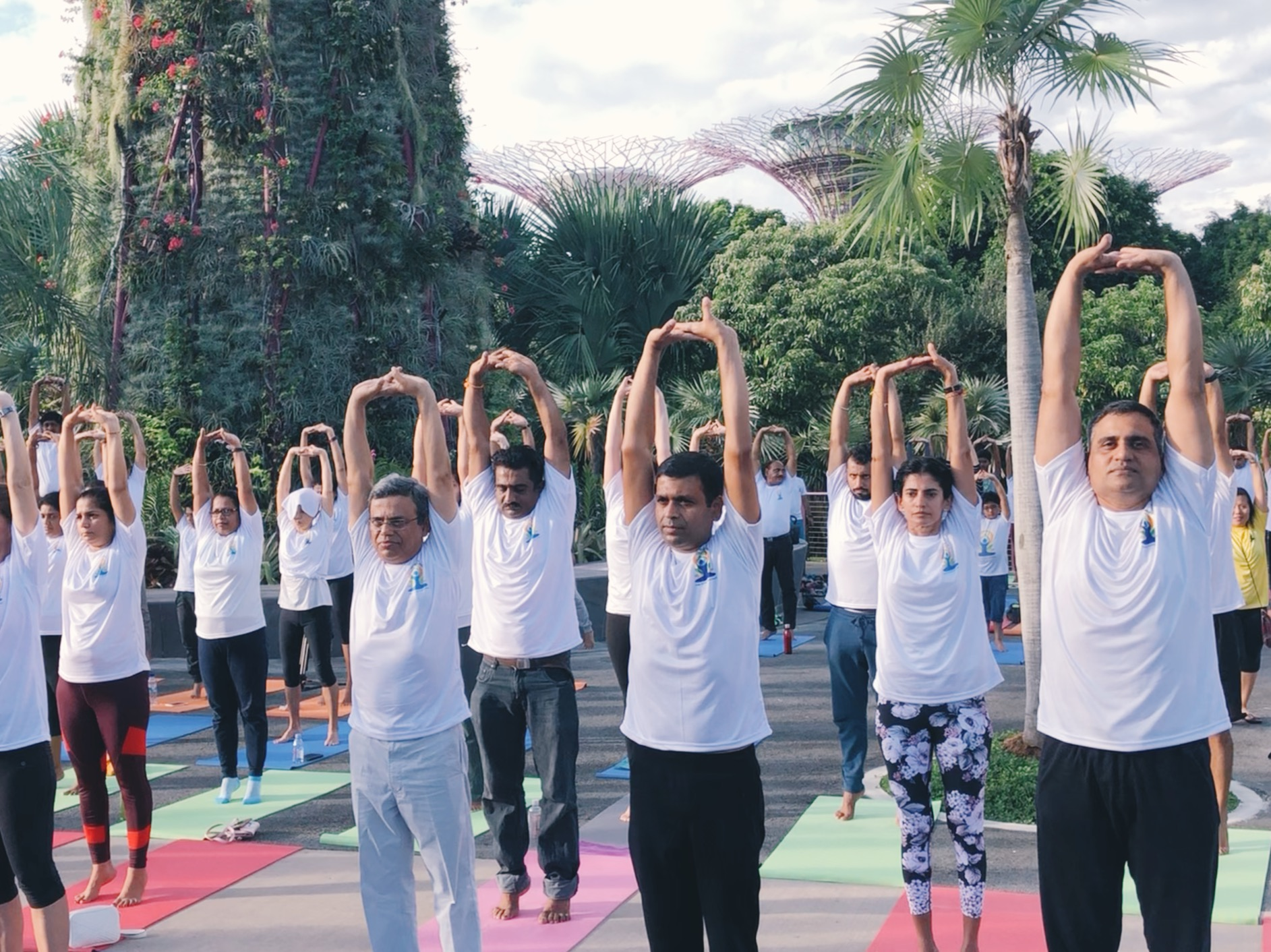 Mr Jawed Ashraf joined the participants in a yoga demonstration session. Photo: Connected to India
