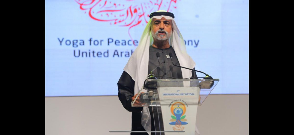 Sheikh Nahyan bin Mubarak Al Nahyan, Minister of Tolerance of the UAE was the chief guest on the occasion. Photo courtesy: Twitter/@IndembAbuDhabi