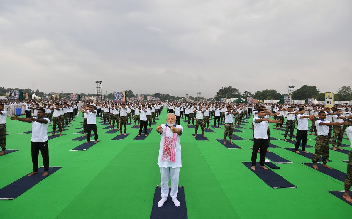 The Prabhat Tara Maidan in Ranchi was the site of PM Modi's Yoga Day programme. Photo courtesy: Twitter/@narendramodi