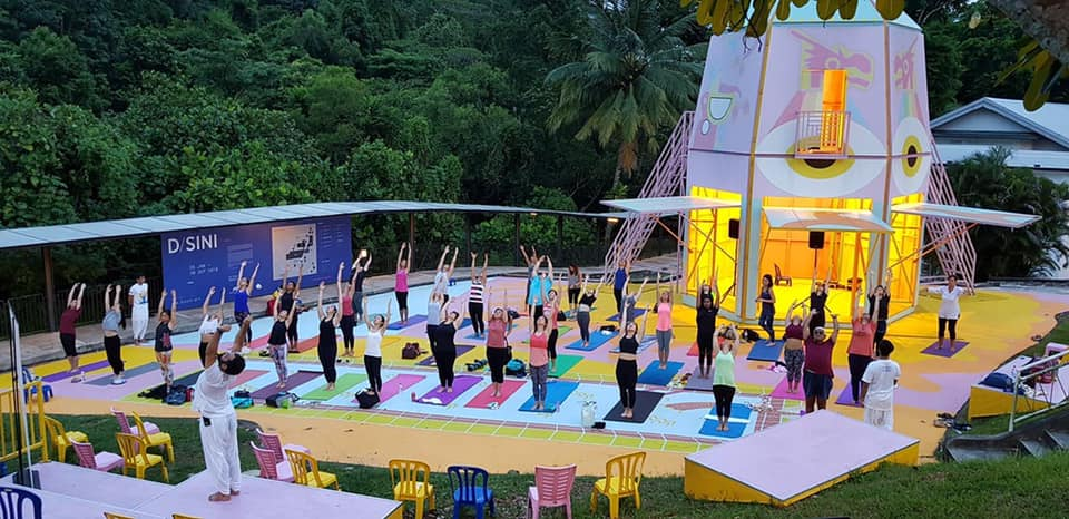 International Day of Yoga celebrations continued in Singapore across more that 50 venues and 70+sessions. Photo courtesy: Facebook/Indiain Singapore