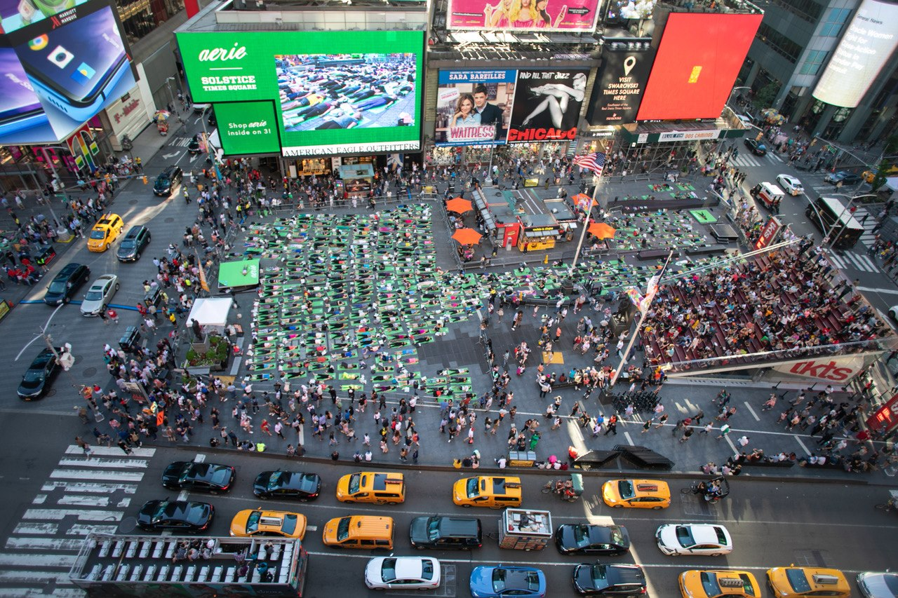 Event organized by the Times Square Alliance saw participation from over 11,000 Yoga enthusiasts. Photo courtesy: Times Square, New York City, Facebook Page