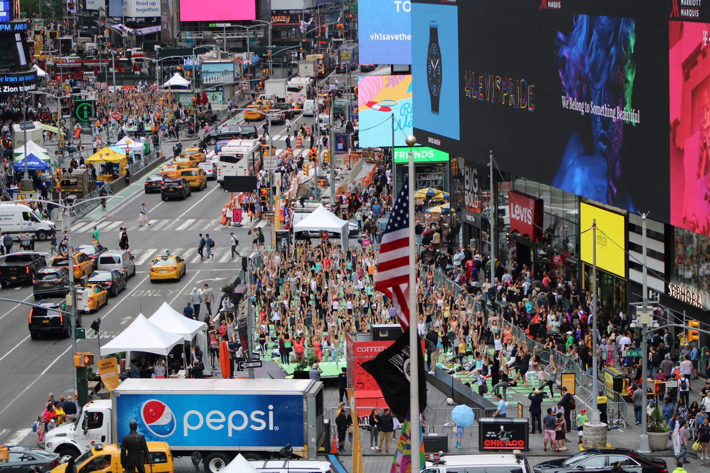 An aerial view of the thousands of yoga participants this year celebrating International Yoga Day, in Times Square, New York. Photo courtesy: Kaustubh Shankar