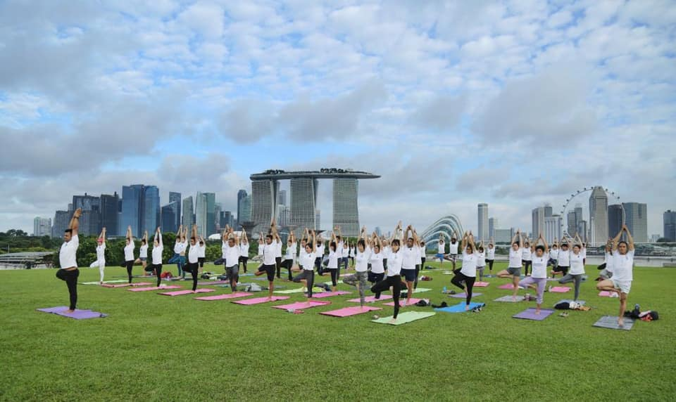 Yoga session held at the iconic Marina Barrage, with a splendid view of Marina Bay. Photo courtesy: High Commission of India, Singapore