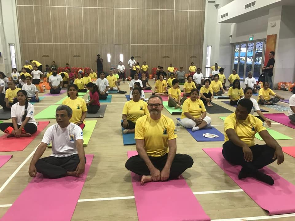 Yoga session held at West Coast Community Centre. Photo courtesy: High Commission of India, Singapore
