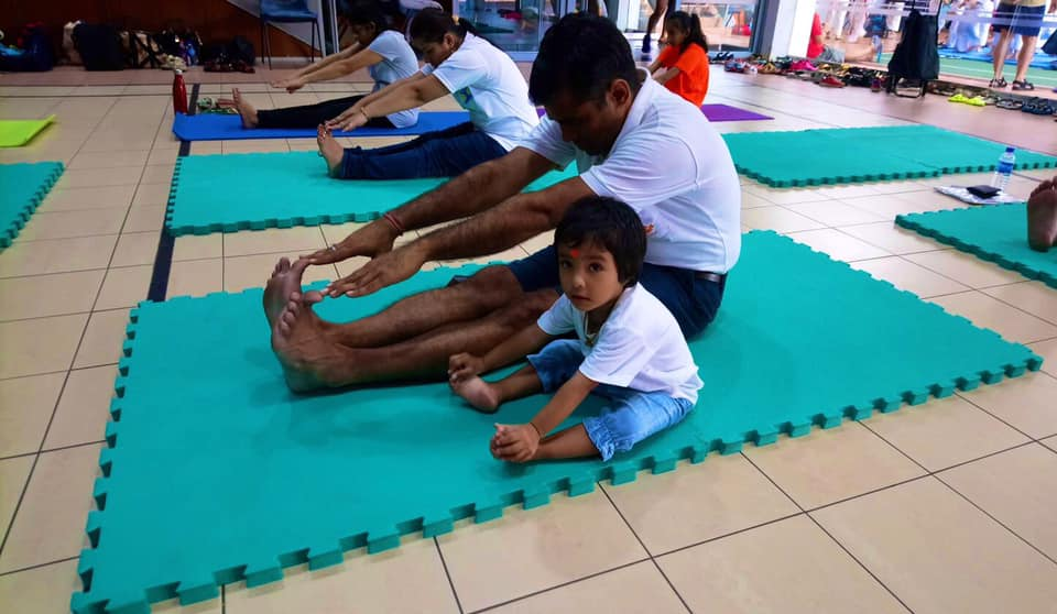 A little yogi seen at the yoga session organised by YogaNikam & Active SG @ HomeofAthletics. Photo courtesy: High Commission of India, Singapore