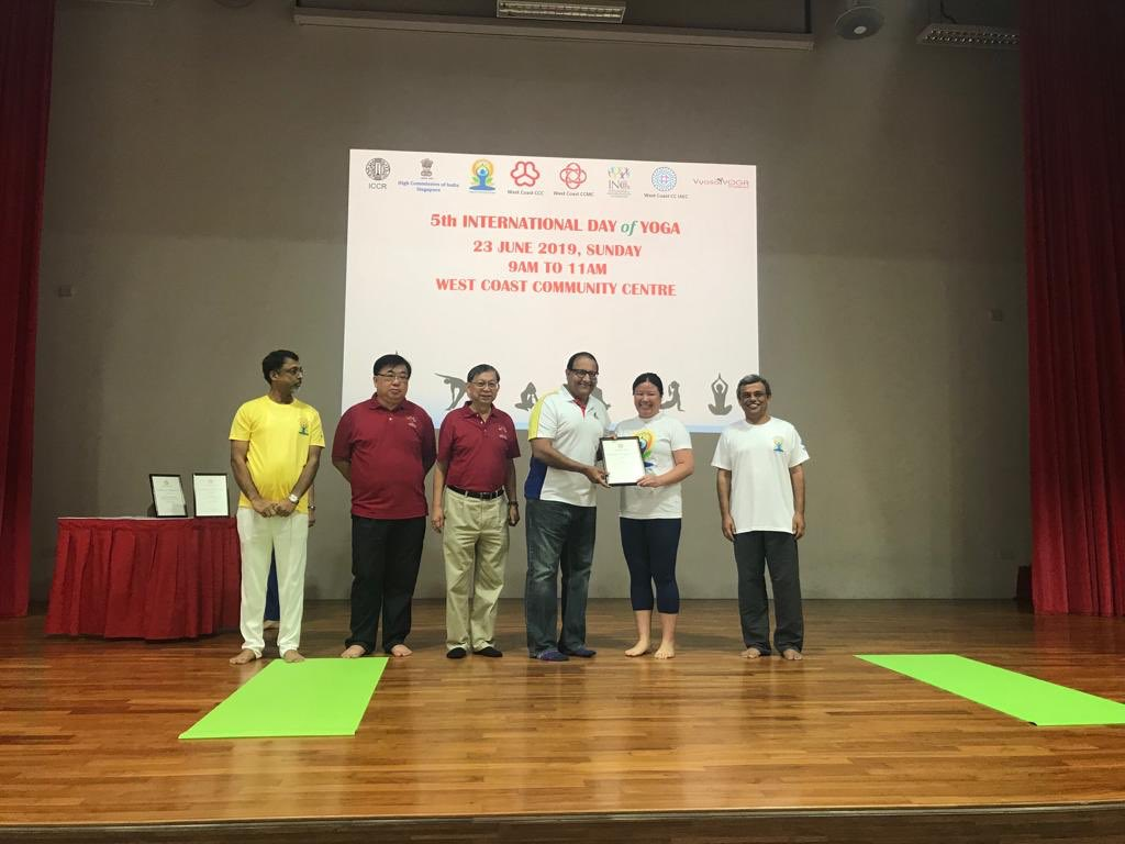 The minister applauded the efforts of the Indian High Commission in Singapore in bringing together local communities and societies to jointly host this year's yoga day celebrations from June 15-25.
