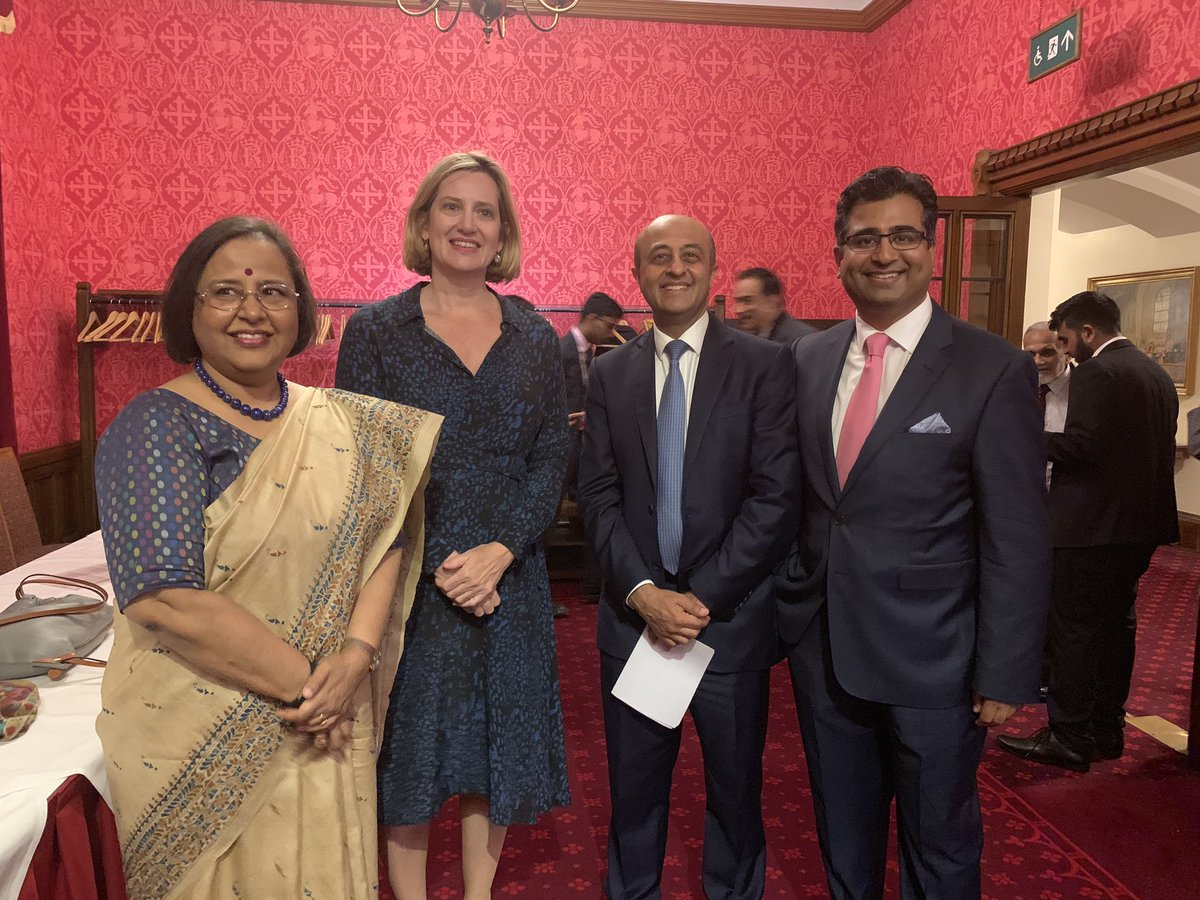 (from left) Indian High Commissioner to the UK Ruchi Ghanashyam, Conservative Party MP and minister in the UK Cabinet, Amber Rudd, Lord Jitesh Gadhia, an Indian-origin peer and Manoj LAdwa, Founder and CEO, India Inc, at the India Day event in the UK Parliament House in Westminster. Photo courtesy: Twitter/@Indiaincorp