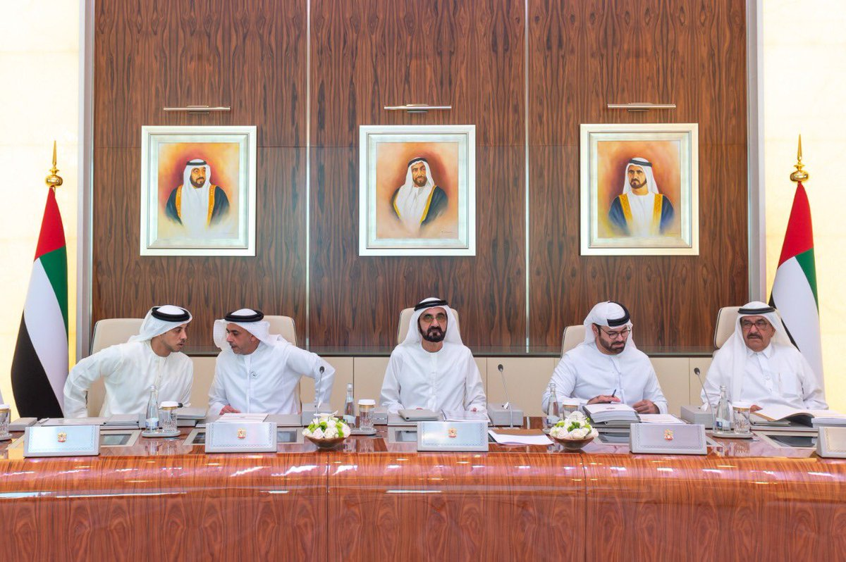 Sheikh Mohammed bin Rashid Al Maktoum, Vice President and Prime Minister of UAE and Ruler of Dubai and other senior Ministers attending the Cabinet meeting at Abu Dhabi. Photo courtesy: Twiiter/@HHShkMohd