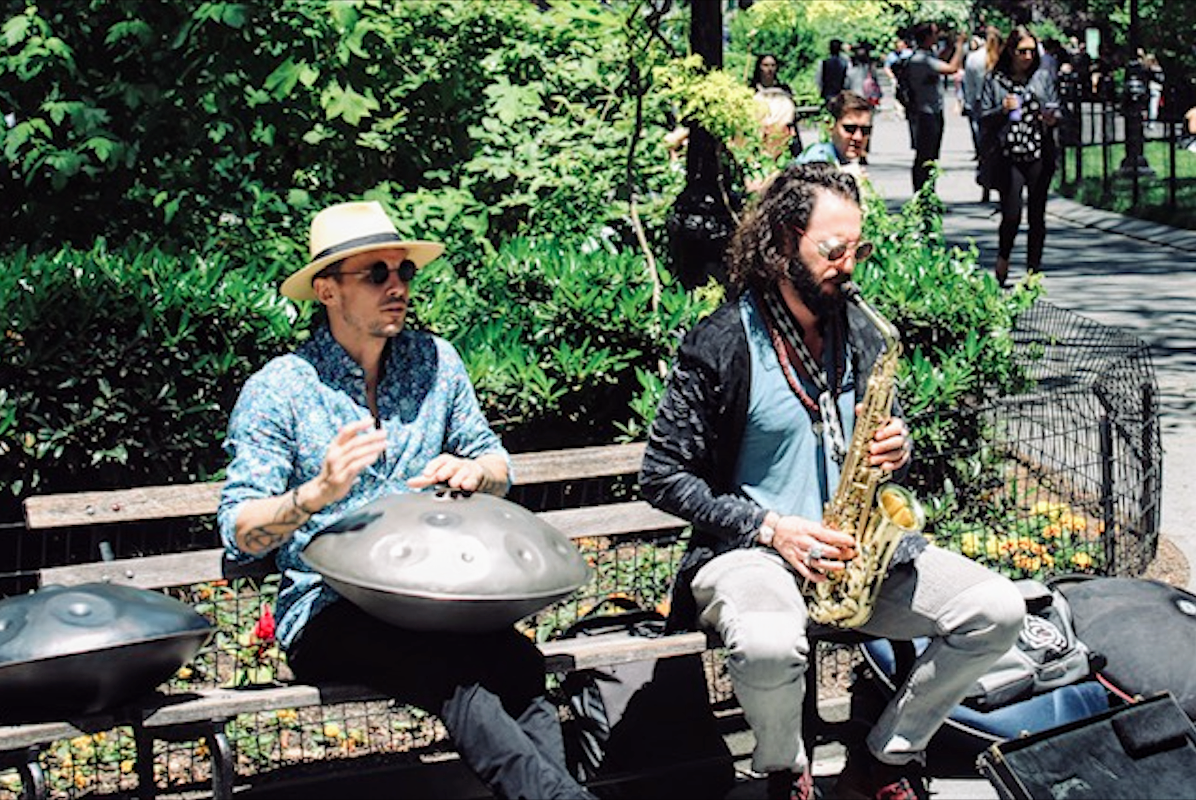 Street musicians being innovative with their musical instruments in Bryant Park. Photo courtesy: Kaustubh Shankar