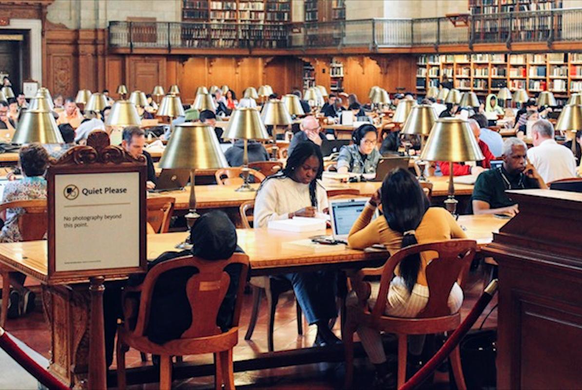 New Yorkers taking advantage of New York's Public Library to sleep and study. Photo courtesy: Kaustubh Shankar
