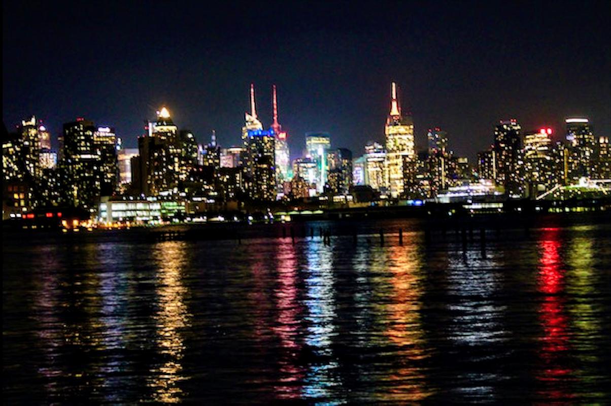 New York makes the Hudson River colourful at night. Photo courtesy: Kaustubh Shankar