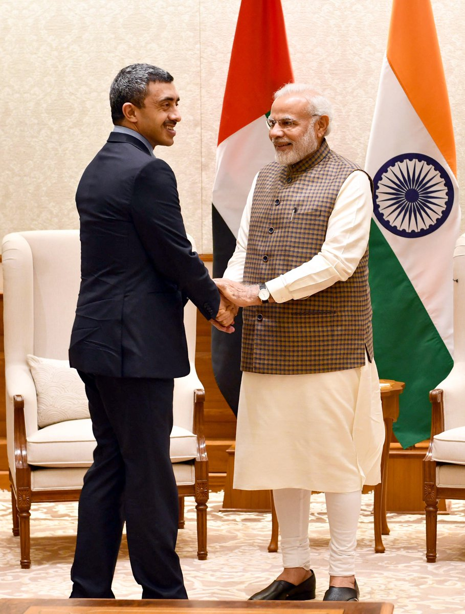 Sheikh Abdullah bin Zayed Al Nahyan meeting Indian PM Narendra Modi in June 2018. Photo courtesy: Twitter/@narendramodi