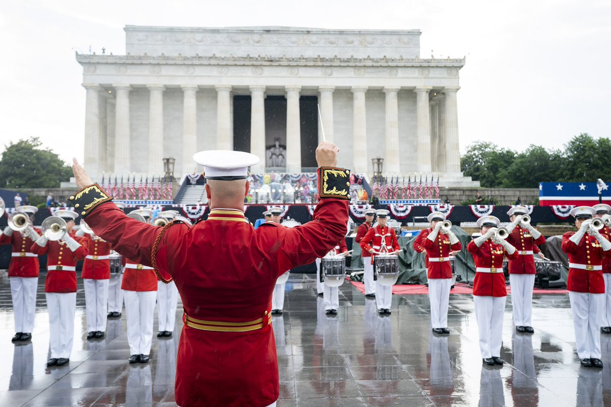 Independence Day celebrations including a military parade and the US Presidential Address were held at the Lincoln Memorial this year. Photo courtesy: Twitter/@VP