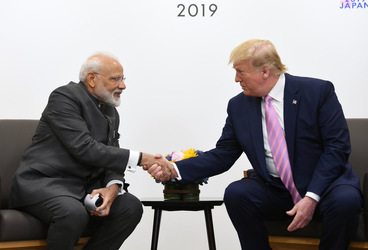 Narendra Modi and Donald Trump meeting at the G20 Summit in Japan in June 2019. Photo courtesy: Twitter/@narendramodi