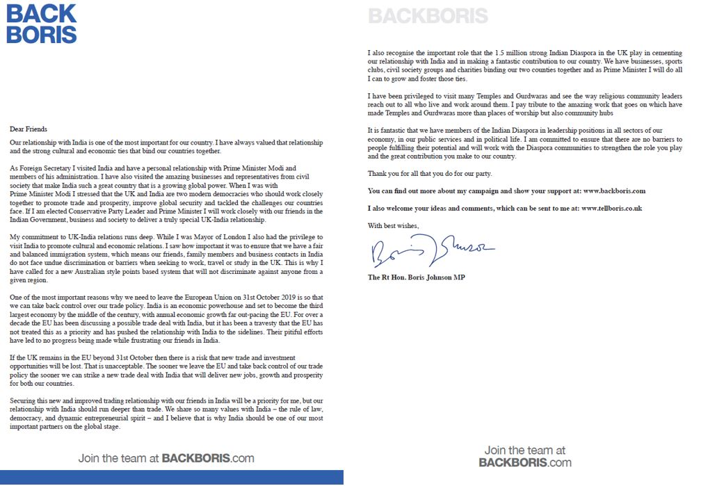 Boris Johnson's open letter to the Indian diaspora Tory membership base. Photo courtesy: Twitter/@patel4witham