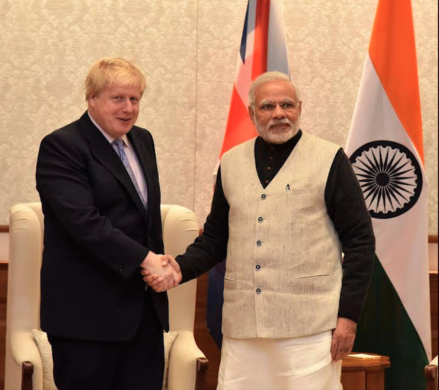 Boris Johnson meeting PM Narendra Modi in 2017. Photo courtesy: Twitter/@PIB_India