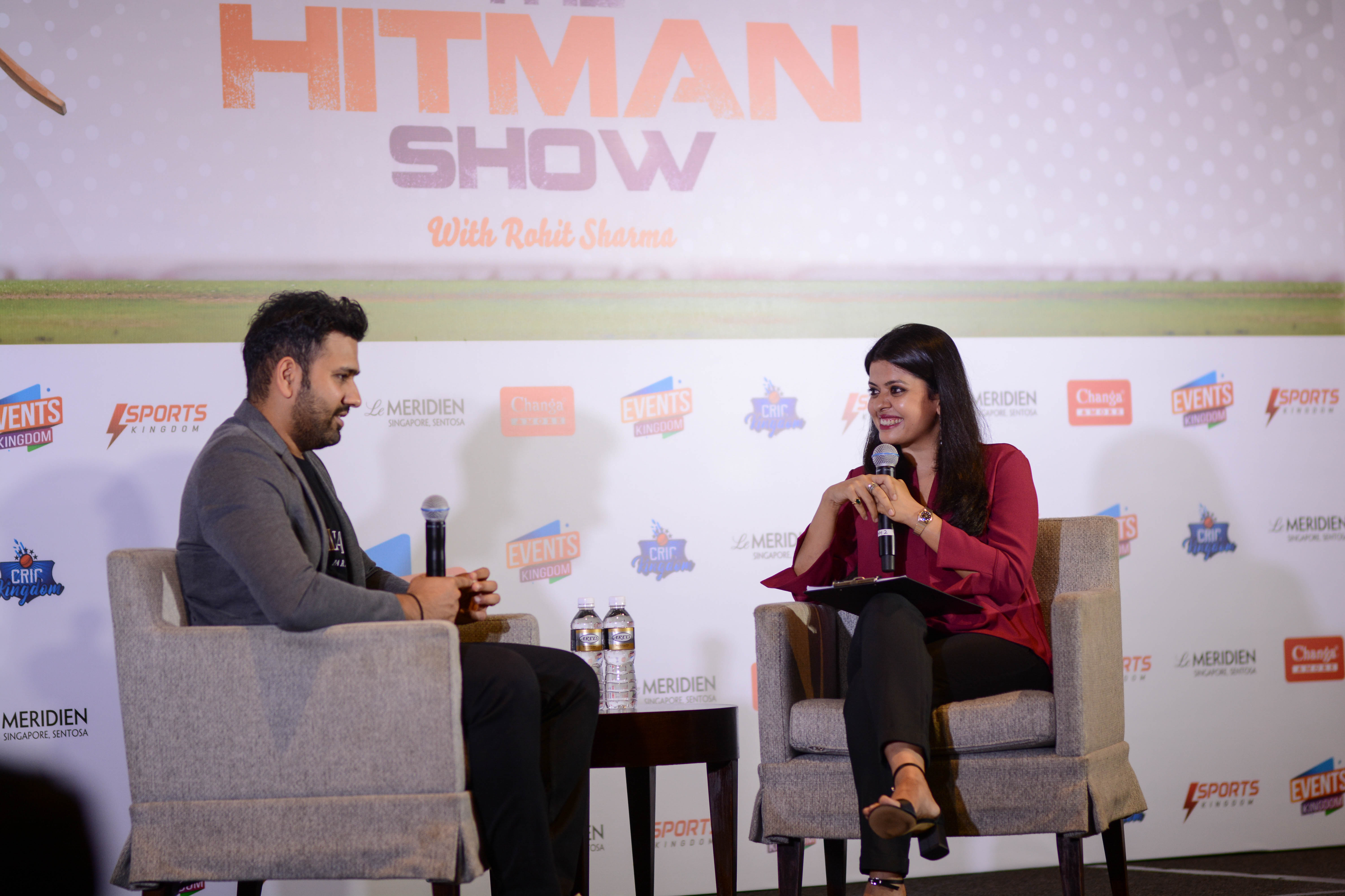 Rohit Sharma on stage for The Hitman Show and an interaction with Connected to India's Punam Sharrma. Photo courtesy: Events Kingdom