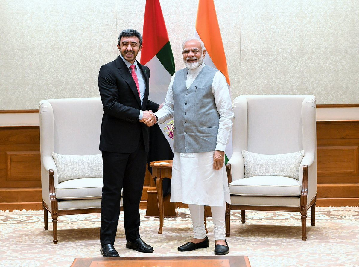 UAE's Foreign Minister called on PM Narendra Modi on Tuesday. Photo courtesy: Twitter/@narendramodi