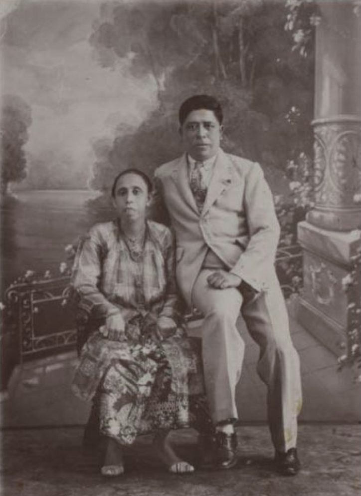 Chetti Melaka pioneer in Singapore, Arumugam Supramaniam Chitty and Sivagamee. Photo courtesy: Family of Letchemee Chitty