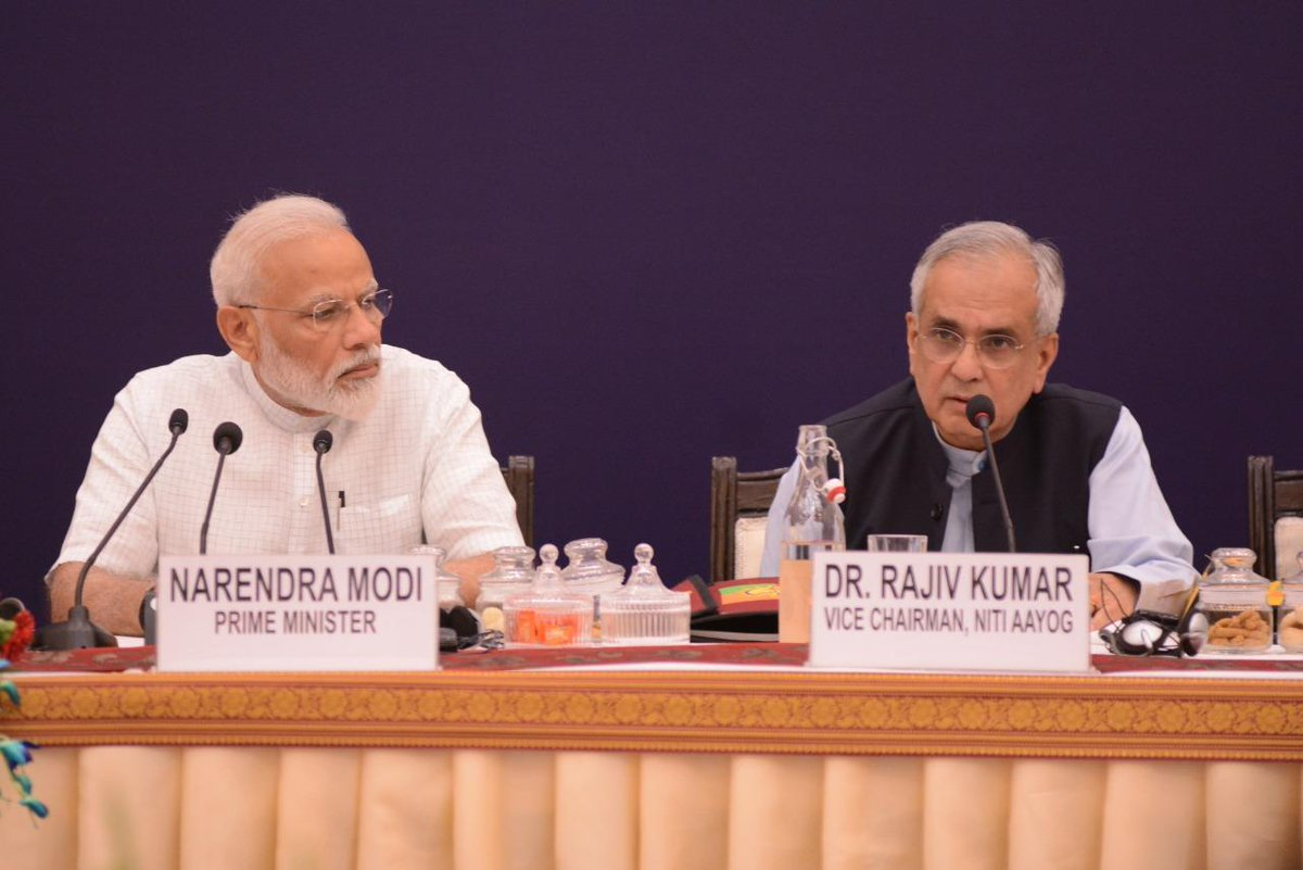 Indian Prime Minister Narendra Modi and NITI Aayog Vice Chairman Rajiv Kumar. Photo courtesy: Twitter/RajivKumar1