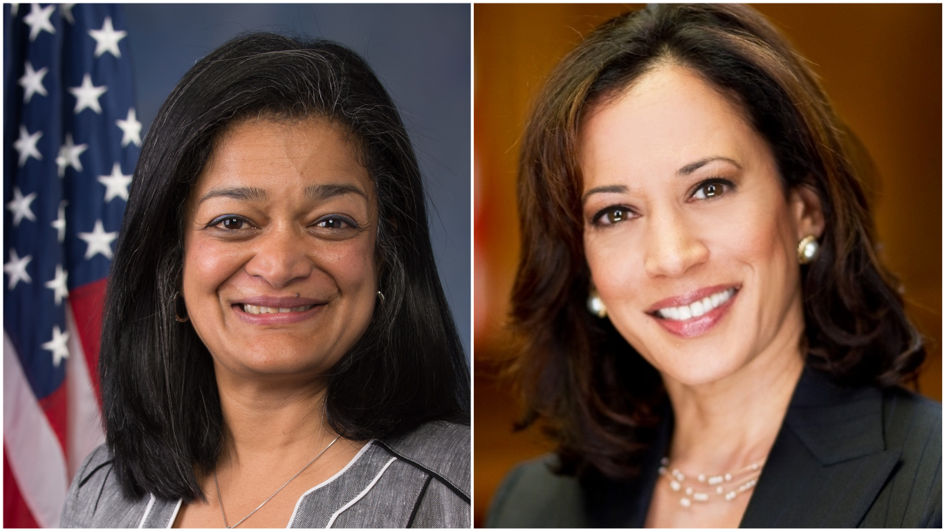 Pramila Jayapal and Kamala Harris. Photos courtesy: Wikimedia