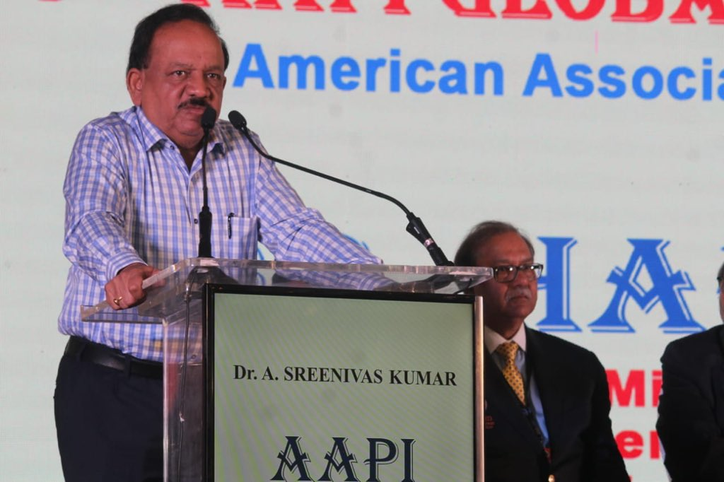 Union Health Minister Dr Harsh Vardhan speaking at the 13th annual Global Healthcare Summit (GHS) 2019 in Hyderabad. Photo courtesy: Twitter/@drharshvardhan