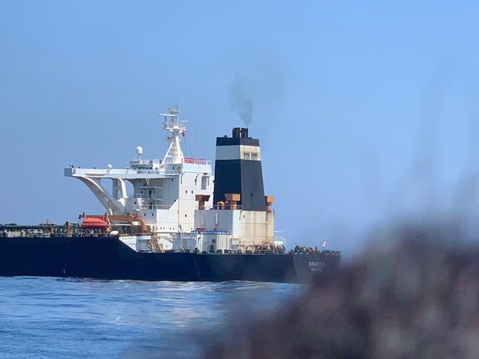 The incident came days after an Iranian oil supertanker, Grace 1, was seized off the Spanish coast earlier this month by British marines and Gibraltar police. Four of the ship's Indian crew members were arrested by the Royal Gibraltar Police (RGP). Photo courtesy: Twitter/@MOS_MEA