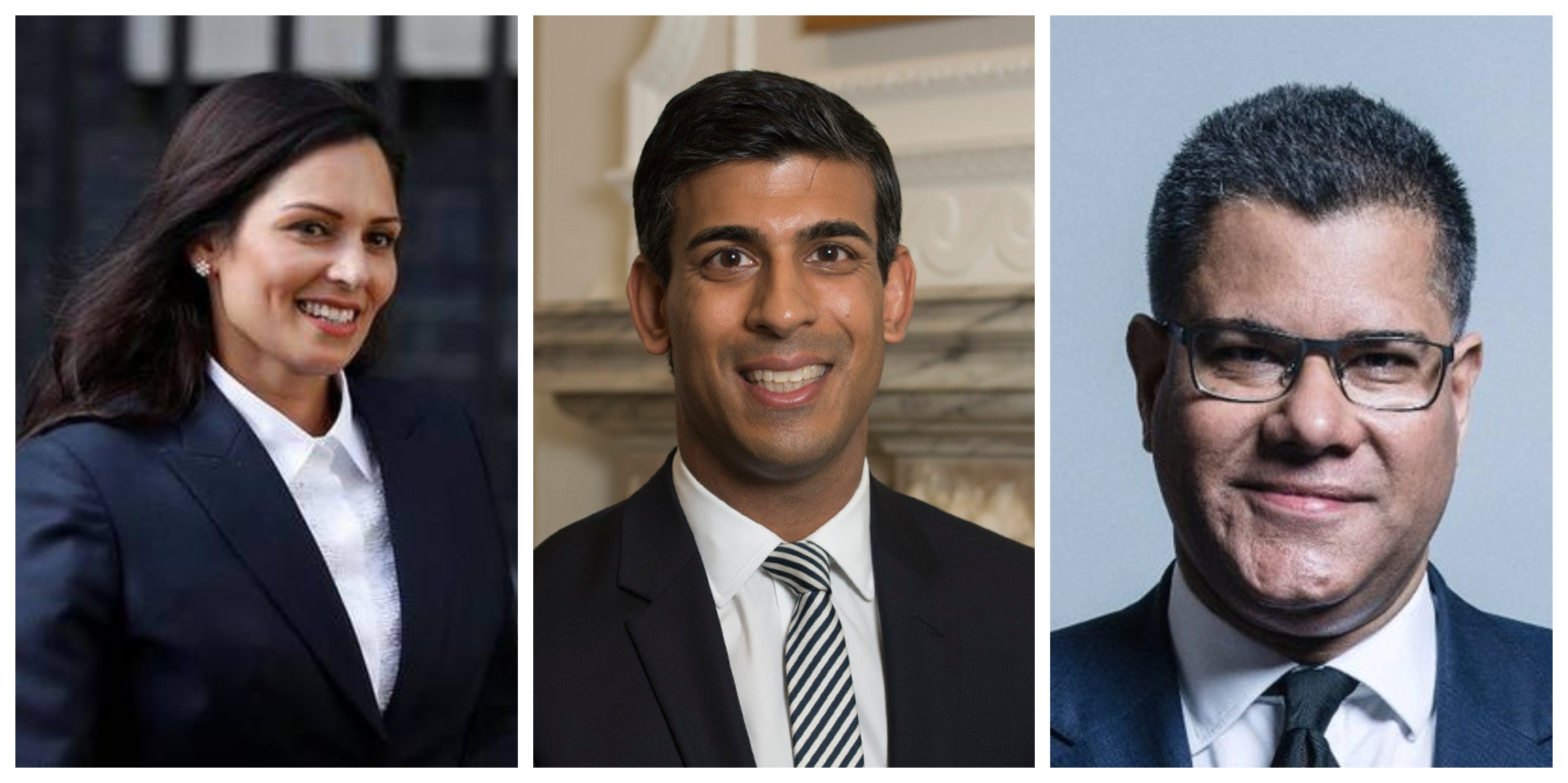 (From left) Priti Patel, Alok Sharma and Rishi Sunak who are members of UK PM Boris Johnson's cabinet. Photo courtesy: Wikimedia