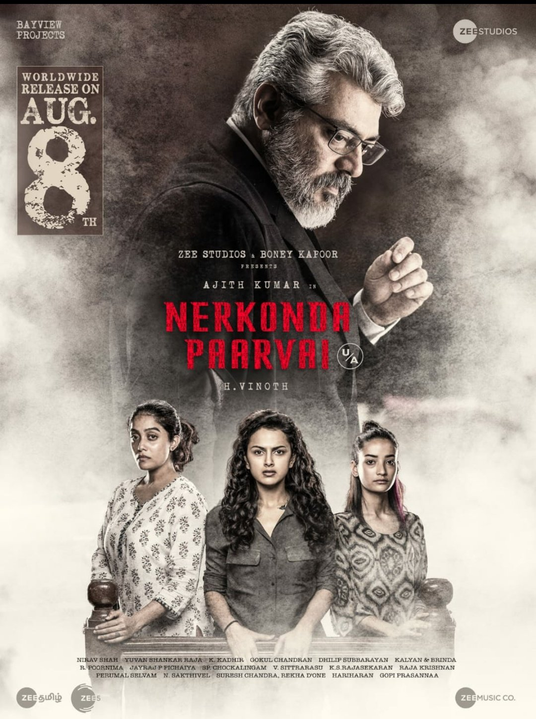 Nerkonda Paarvai is the official Tamil remake of the Bollywood film Pink. Photo courtesy: Twitter/@BoneyKapoor