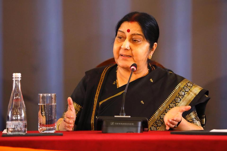 Former Foreign Minister Sushma Swaraj passed away at the age of 67. Photo courtesy: Facebook: Ministry of External Affairs, Government of India
