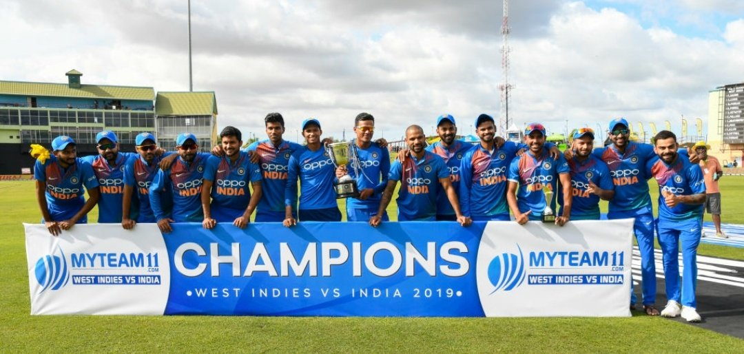 India won the T20 series against West Indies 3-0. Photo courtesy: Twitter/@imVkohli