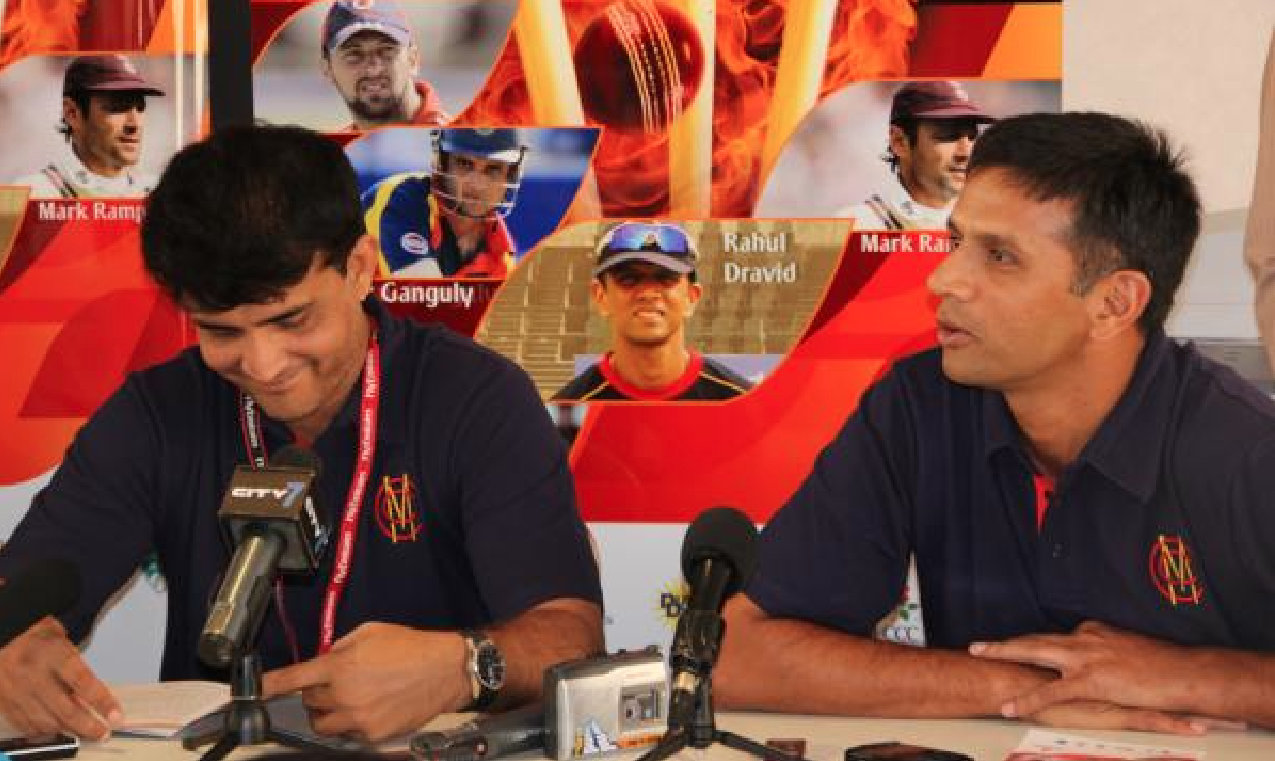BCCI's conflict of interest notice to Rahul Dravid has irked Sourav Ganguly. Photo courtesy: Twitter/@HomeOfCricket
