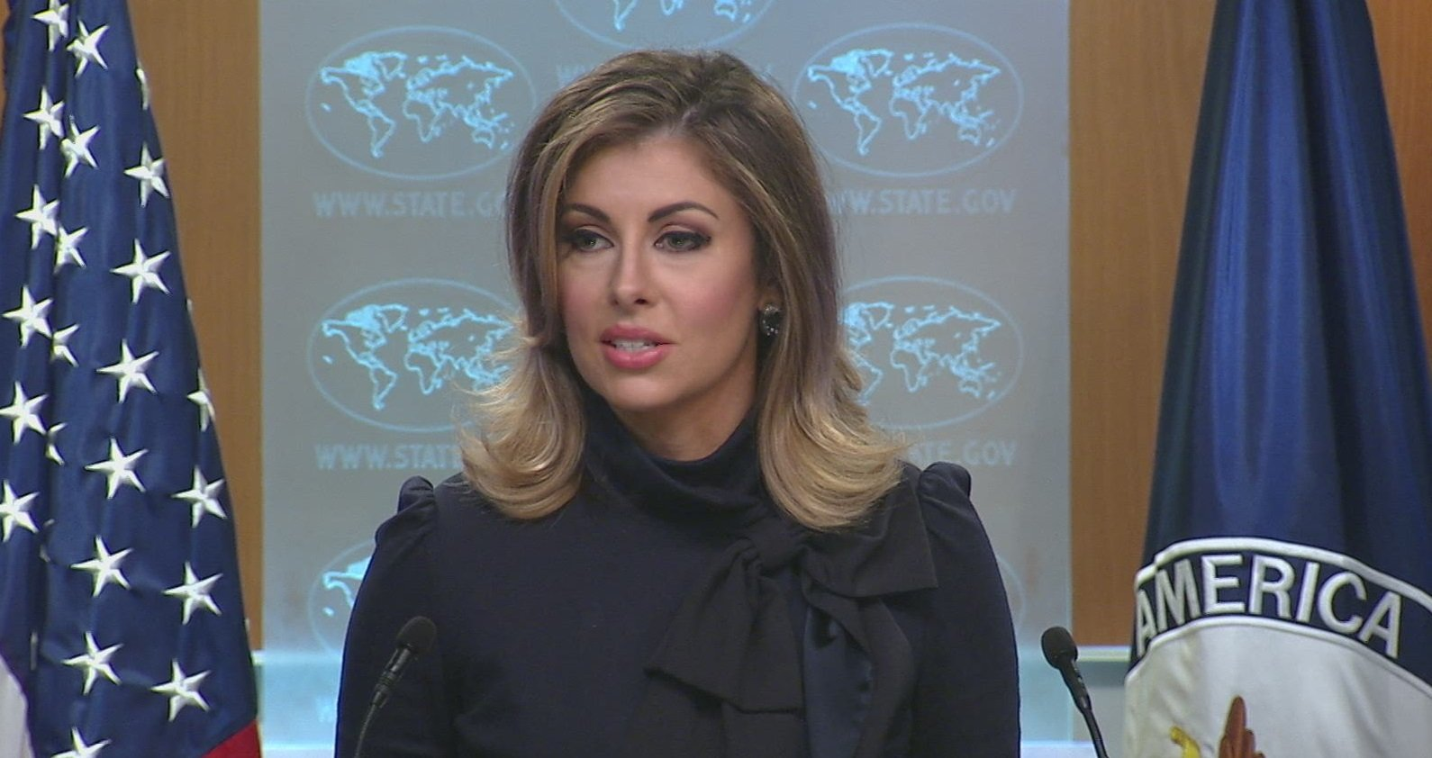 US State Department Spokesperson Morgan Ortagus said that it is up to India and Pakistan to decide on the Kashmir issue. Photo courtesy: Twitter