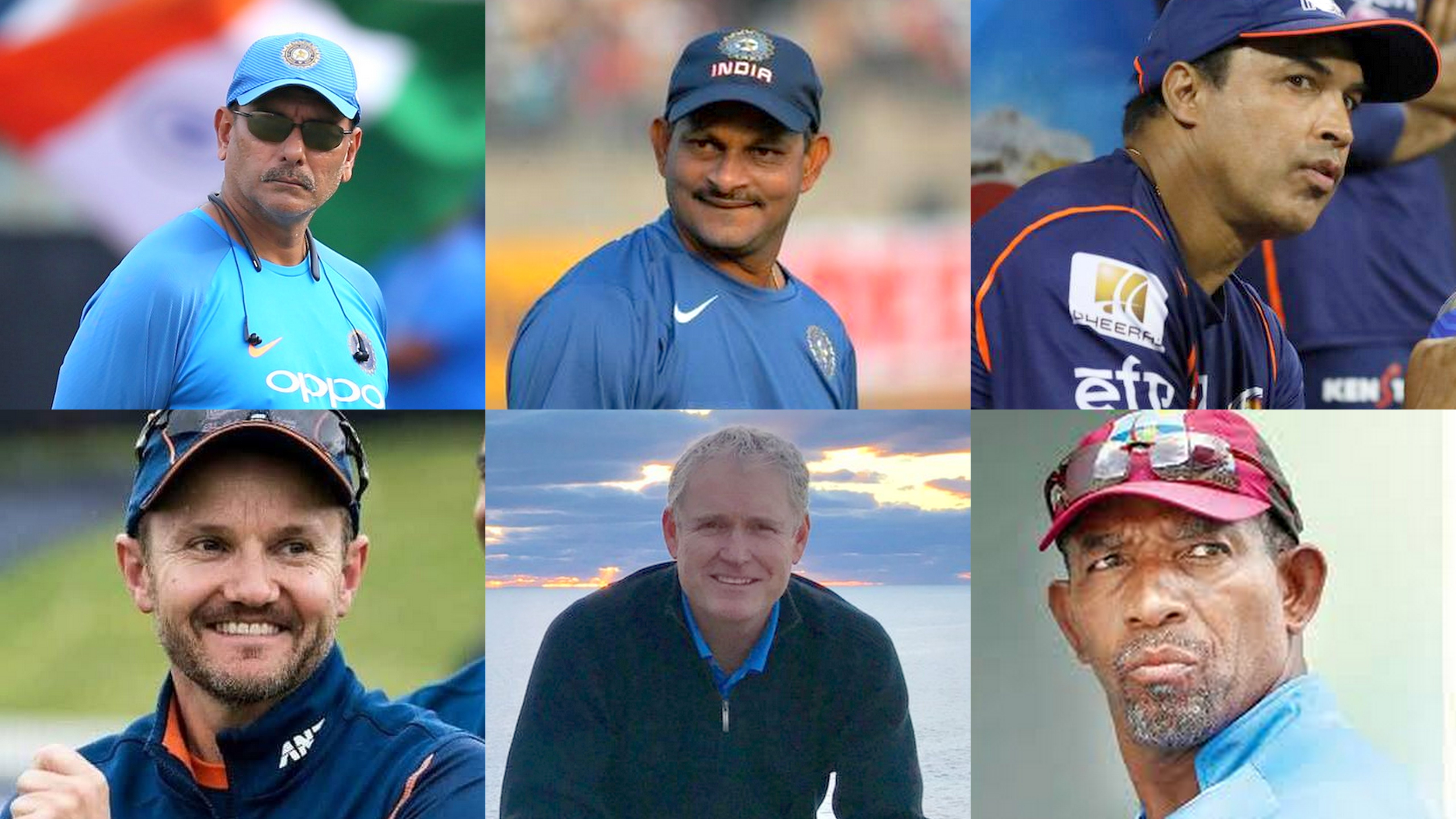 Candidates for India coach: Ravi Shastri, Lalchand Rajput, Robin Singh, Mike Hesson, Tom Moody and Phil Simmons