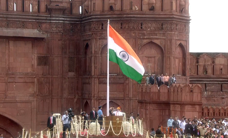PM Modi addressed the nation from the Red Fort in New Delhi on Independence Day. Photo courtesy: Twitter/@BJP