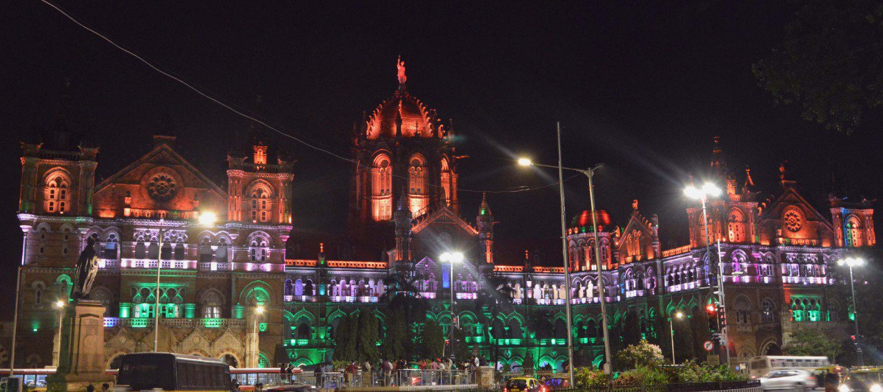 Mumbai's Chhatrapati Shivaji Maharaj Terminus lit up for Independence Day. Photo courtesy: Twitter/@PiyushGoyal