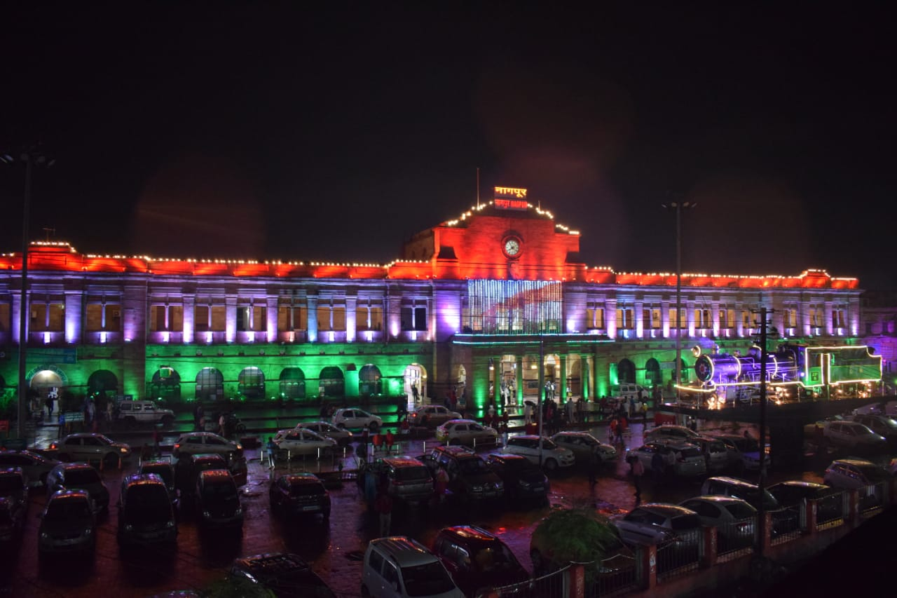 Nagpur Station lit up in the tricolour. Photo courtesy: Twitter/@Central_Railway