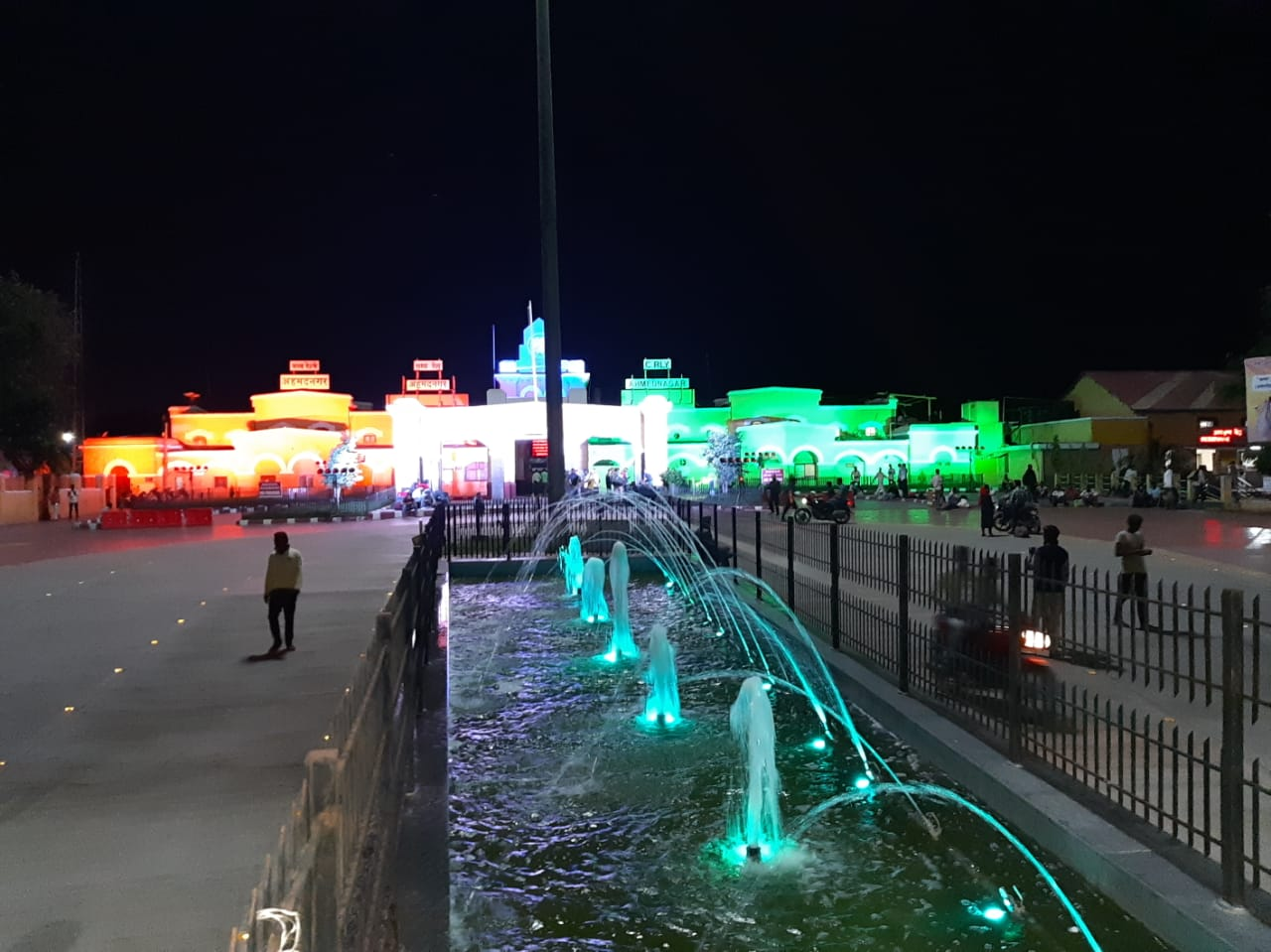 Ahmednagar Station lit up for Independence Day. Photo courtesy: Twitter/@Central_Railway