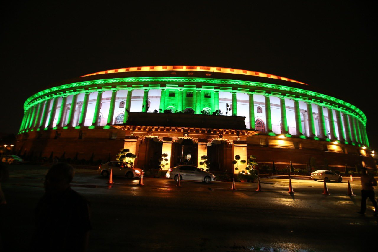 The Indian Parliament building lit up for Independence Day. Photo courtesy: Twitter