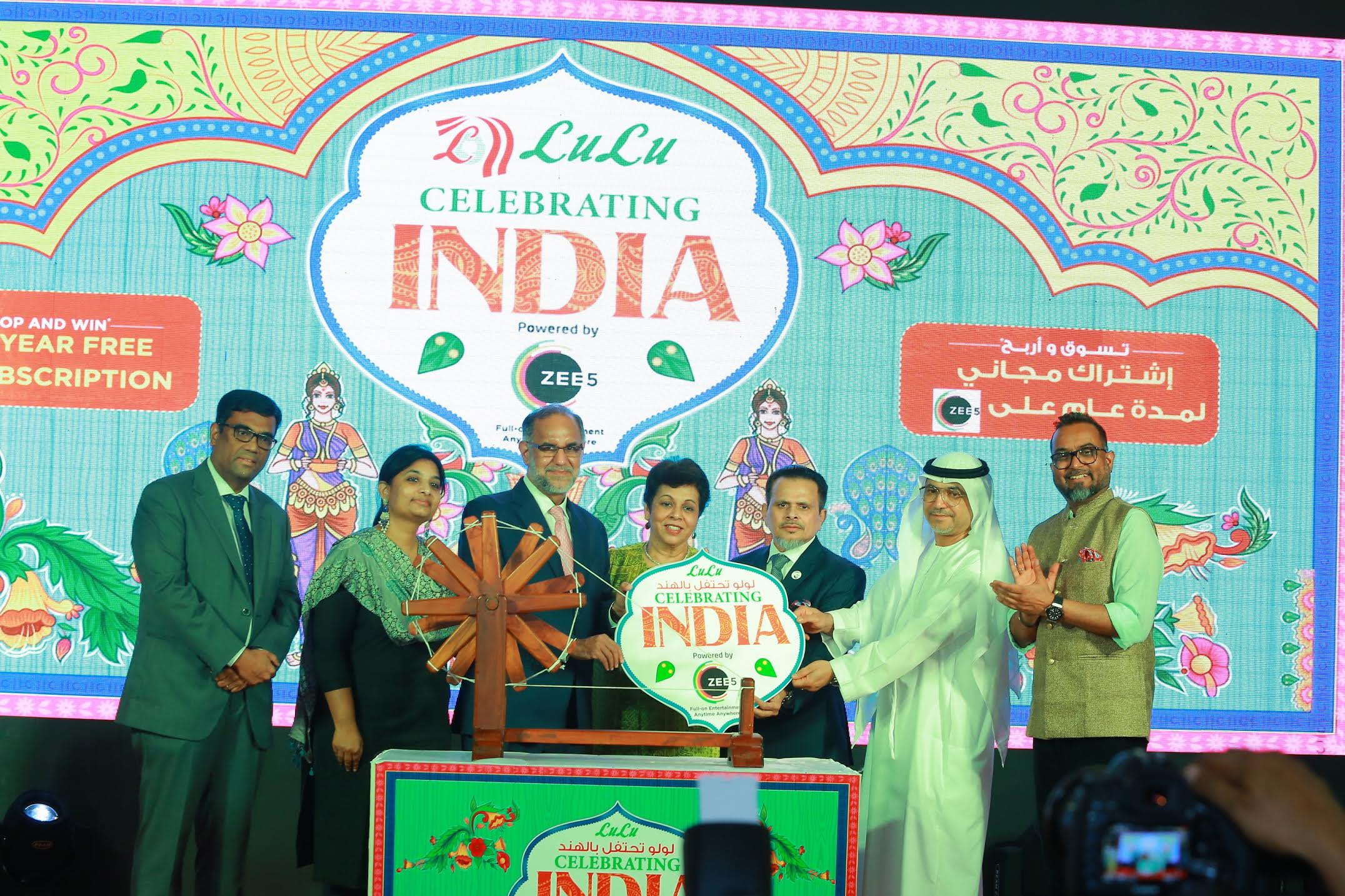 (Left to Right) Lulu Official; Archana Anand, CBO, ZEE5 Global; H.E. Navdeep Suri, Indian Ambassador to the UAE with his wife; Saifee Rupawala, LuLu Group CEO; Arab Govt. official and Nandakumar V, Head of Marketing and Communications, Lulu Group. Photo courtesy: ZEE5